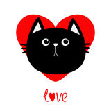 Black cat head icon. Red heart. Cute funny cartoon character. Valentines day Love word Greeting card. Sad emotion. Kitty Whisker B Stock Photography
