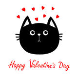 Black cat head icon. Red heart set. Cute funny cartoon character. Happy Valentines day Greeting card. Sad emotion. Kitty Whisker  Stock Photo