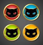 Black cat head icons stock illustration