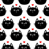 Black cat head with little red heart. Cute cartoon character. Baby pet collection. Seamless Pattern Wrapping paper, textile  Royalty Free Stock Images