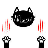 Black cat head. Meow lettering contour text. Two paw print leg foot. Bloody claws scratching animal Cute cartoon character. Silhouette. Baby pet collection Royalty Free Stock Image