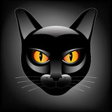 Halloween black cat head logo Royalty Free Stock Images