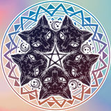 Black cat head portrait madnala, moon, pentagram. Stock Image