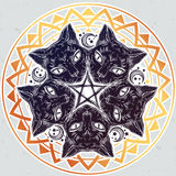 Black cat head portrait madnala, moon, pentagram. Royalty Free Stock Photo