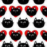 Black cat head with red heart. Cute cartoon character. Baby pet collection. Seamless Pattern Wrapping paper, textile template.  Royalty Free Stock Image