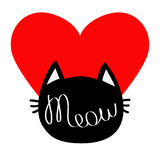 Black cat head silhouette shape. Meow lettering text. Cute cartoon character. Big red heart. Love card. Kawaii animal. Baby pet co Stock Photos