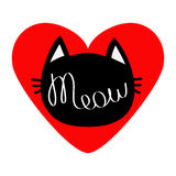 Black cat head silhouette shape. Meow lettering text. Love card. Cute cartoon character. Big red heart. Kawaii animal. Baby pet co Royalty Free Stock Image