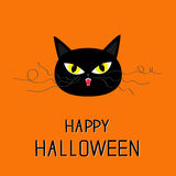 Black cat head. Yellow eyes, fangs, curl moustaches whisker.  Royalty Free Stock Images