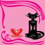 Black cat and heart on a pink background. Royalty Free Stock Images
