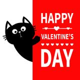 Black cat holding big signboard. Cute cartoon funny kitten kitty hiding behind paper. Happy Valentines Day Calligraphy lettering t vector illustration