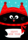 Black Cat holding Happy New Year. Cute funny cartoon character. Snow flake, red hat, scarf. Flat design Blue background. Vector illustration royalty free illustration