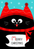 Black Cat holding Merry Christmas text with candy cane. Cute funny cartoon character. Snow flake, red hat, scarf. Flat design Blue Royalty Free Stock Photo