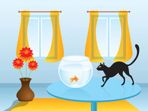 Black cat hunting goldfish Royalty Free Stock Image