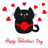 Black cat icon with round bow. Red heart set. Cute funny cartoon character. Happy Valentines day Greeting card. Kitty Whisker Baby Stock Image