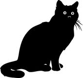 Black Cat Illustration. Line Art Illustration of a Black Cat Royalty Free Stock Image