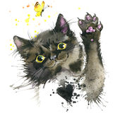 Black Cat Illustration With Splash Watercolor Textured Background. Royalty Free Stock Photo