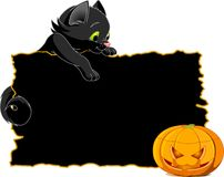 Black Cat Invite or Placard. Cute  black kitten on a Halloween  place card or invite Stock Image