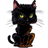 Black cat isolated on white. Cat and cats tail on different layers Stock Photos