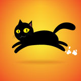 Black cat jump isolated background, happy halloween day Royalty Free Stock Photos