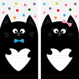 Black cat kitty family holding empty heart shape paper. Poster Notebook cover Composition book template. Cute cartoon character se Stock Images