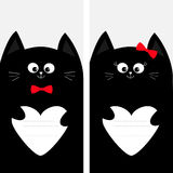 Black cat kitty family holding empty heart shape paper. Red bow. Poster Notebook cover Composition book template. Cute cartoon cha Stock Images