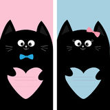 Black cat kitty family holding pink blue heart shape paper. Poster Notebook cover Composition book template. Cute cartoon characte Stock Photography
