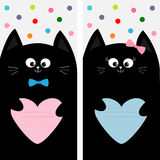 Black cat kitty family holding pink blue heart shape paper. Poster Notebook cover Composition book template. Cute cartoon  Stock Photography