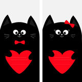 Black cat kitty family holding red heart shape paper. Poster Notebook cover Composition book template. Cute cartoon character set. Stock Images