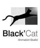 Black Cat Logo. Logo Design for animation Studio Royalty Free Stock Photos