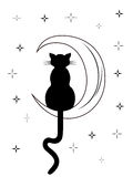 Black cat with long tail sitting on the moon Stock Photos