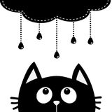 Black cat looking up to cloud with hanging shining rain drops. Dash line set. Cute cartoon character. Valentines Day. Kawaii anima. L. Love Greeting card. Flat Royalty Free Stock Images