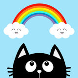 Black cat looking up to cloud and rainbow with smiling face. Cute cartoon character. Valentines Day. Kawaii animal. Love Greeting. Card. Flat design. Blue stock illustration