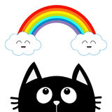 Black cat looking up to cloud and rainbow with smiling face. Cute cartoon character. Valentines Day. Kawaii animal. Love Greeting Stock Photos
