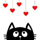 Black cat looking up to hanging red hearts. Dash line. Heart set Cute cartoon character. Kawaii animal. Love Greeting card. Happy Royalty Free Stock Images