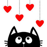 Black cat looking up to hanging red hearts. Dash line. Heart set Cute cartoon character. Valentines Day. Kawaii animal. Love Greet Royalty Free Stock Photo