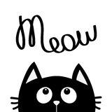 Black cat looking up to meow lettering text. Cute cartoon character. Kawaii animal.  Stock Photos