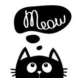 Black cat looking up to meow lettering text. Think talk speech bubble. Cute cartoon character. Kawaii animal. Love Greeting card. Stock Images