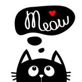 Black cat looking up to meow lettering text. Think talk speech bubble. Red heart. Cute cartoon character. Kawaii animal. Love Gree Stock Image