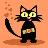 Black cat love card. Funny black cat love card Stock Images