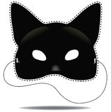 Black cat mask  on white Stock Photo