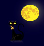 Black cat and moon Royalty Free Stock Image