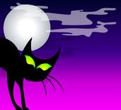 Black Cat Moon Background Stock Image