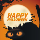 Black Cat on Moon Background Poster, Vector Illustration Royalty Free Stock Photography