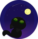Black cat on the moon Stock Photo
