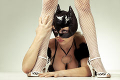 Black cat  is next to dominatrix`s  legs. Hot beautiful model in latex black cat costume next to  legs of her dominatrix Stock Photos