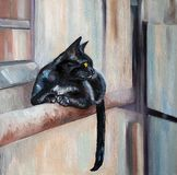 Black cat oil painting. Oil painting brush black cat - Modern art - Realism Stock Image