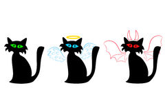 Black cat ordinary, an angel and a devil Royalty Free Stock Photo