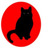 Black cat over red Royalty Free Stock Photo