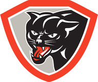 Black Cat Panther Head Shield Stock Photo