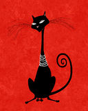 Black Cat in Pearls Stock Images